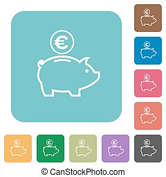 Flat Euro piggy bank icons on rounded square color...