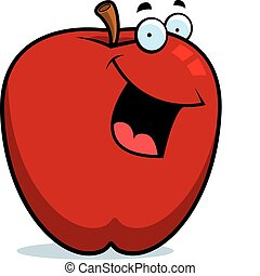 Apple Smiling - A cartoon red apple smiling and happy.