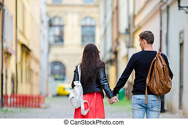Romantic couple enjoy holidays in Europe Happy lovers...