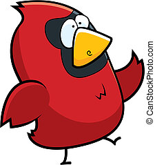 Cardinal Walking - A cartoon red cardinal walking on two...