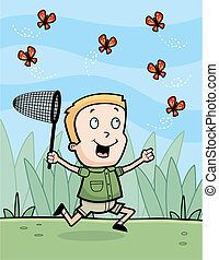 Chasing Butterflies - A happy cartoon boy chasing...