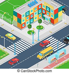 Isometric City School Building with Football Playground School Bus and Scholars. Vector illustration