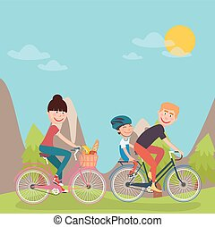 Happy Family Riding Bikes in tho Mountains. Woman on Bicycle. Father and Son. Vector illustration