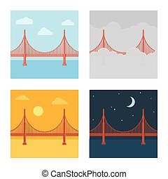 Golden Gate Bridge vector illustration set in different time...