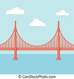 Golden Gate Bridge illustration. Flat cartoon vector style...