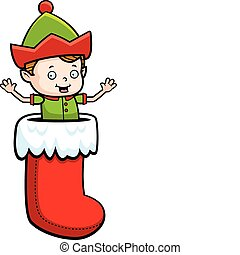Elf Stocking - A happy cartoon Christmas elf in a stocking.