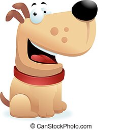 Dog Smiling - A happy cartoon dog sitting and smiling