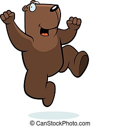 Groundhog Jumping - A happy cartoon groundhog jumping and...