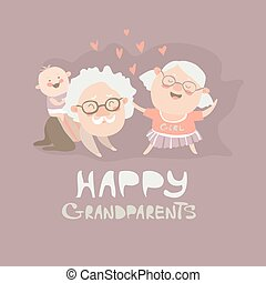 Happy grandparents playing with their grandson Vector...
