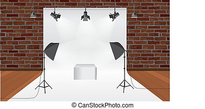 Photography studio with lighting equipment and backdrop vector. Display mockup