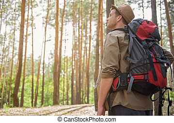 Cheerful male adventurer walking in forest - Relaxed young...