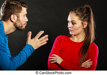 Regretful man husband apologizing upset woman wife - Husband...