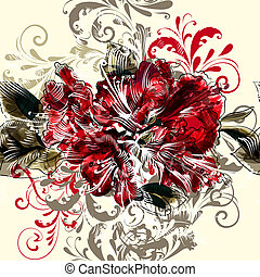 Vector background with hand azalea flowers in engraved...
