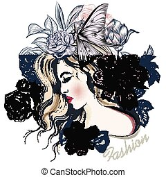 Fashion vector illustration with beautiful young long hared  woman and flowers on her head.eps