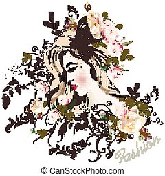 Fashion vector illustration with beautiful young long hared  woman and rose flowers on her head.eps