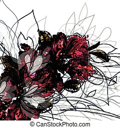 Floral illustration in watercolor abstract style with red...