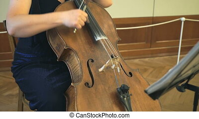 Close-up of a woman playing the contrabass at the concert