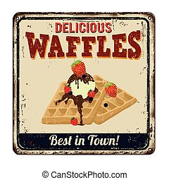 Waffles vintage metal sign