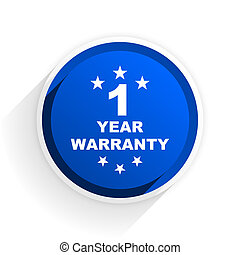 warranty guarantee 1 year flat icon with shadow on white...