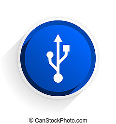 usb flat icon with shadow on white background, blue modern...
