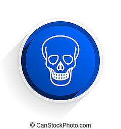 skull flat icon with shadow on white background, blue modern...