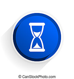 time flat icon with shadow on white background, blue modern...
