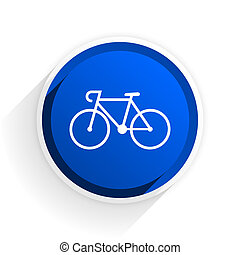 bicycle flat icon with shadow on white background, blue...