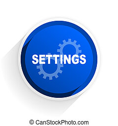 settings flat icon with shadow on white background, blue...