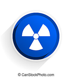 radiation flat icon with shadow on white background, blue...