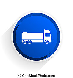 truck flat icon with shadow on white background, blue modern design web element