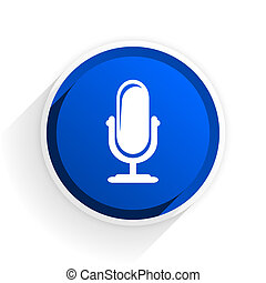microphone flat icon with shadow on white background, blue...