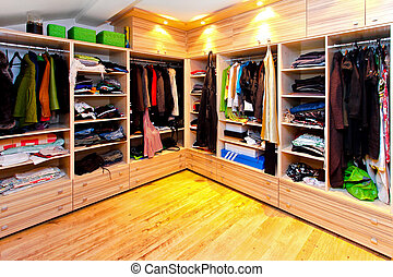 Big wardrobe - Big built in wardrobe room with open shelves...