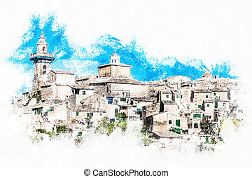 Beautiful view of the small town Valldemossa situated in...