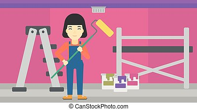 Painter with paint roller - An asian female painter in...