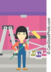 Painter with paint roller. - An asian female painter in...