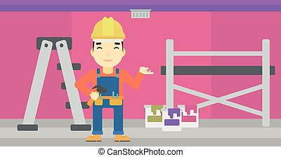 Cheerful repairer engineer - An asian man in helmet with a...