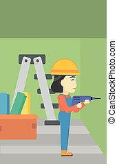 Constructor with perforator. - An asian female worker...