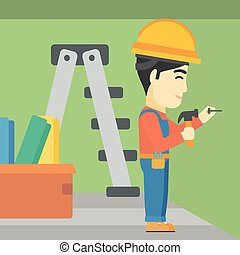 Constructor hammering nail - An asian worker hammering a...