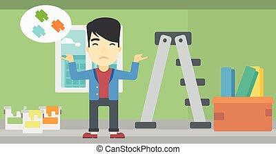 Man choosing paint color - A doubtful asian man choosing...