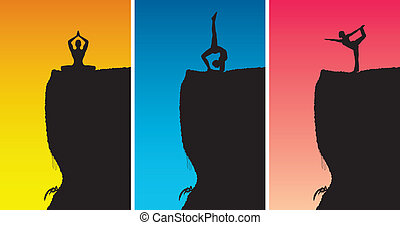 Yoga Meditation on Top of Rock - A set of 3 yoga positions...