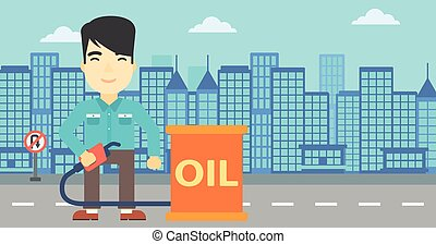 Man with oil barrel and gas pump nozzle.