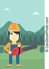 Lumberjack with chainsaw vector illustration - An asian...
