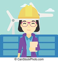 Female worker of solar power plant and wind farm - An asian...