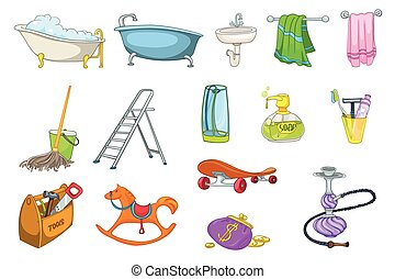 Set of bath toiletries and equipment illustrations - Set of...