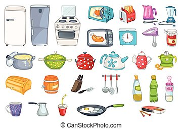 Set of household appliances and kitchenware. Set of...