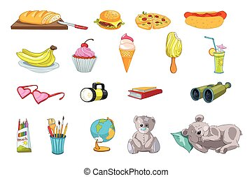 Vector set of food and kid things illustrations.
