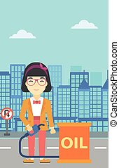 Woman with oil barrel and gas pump nozzle.