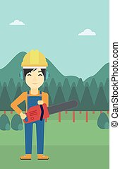 Lumberjack with chainsaw vector illustration. - An asian...