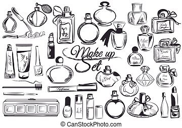 Big collection of vector make up accesories perfume lipstick and other.eps