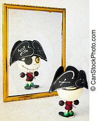 pirate - small pirate toy in the mirror